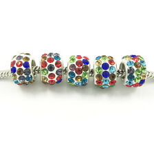 10pcs Silver MURANO European Charm Crystal Spacer Beads Fit Necklace Bracelet ~~