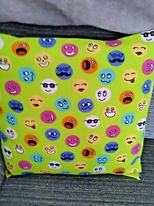 """Emoji Print 16"""" Square  Cushion Cover in 100% Cotton Fabric. Hand Made"""