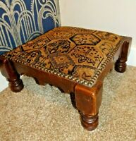 Antique Mahogany and Studded Upholstered Square Stool/Foot Stool with Four Legs