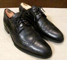 COACH Men Shoes Sz 11.5 D Black Wingtip Oxfords STOCTON Leather Italy