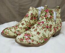 Journee Collection 'Roone' Floral Round Toe Ankle  Boot Slide Cream/Pink sz W10