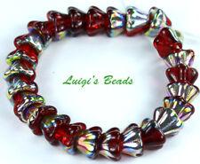 25 Siam Ruby-vitral Czech Glass Beads Bell Flower 8x6mm