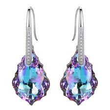 Teardrop Dangle Hook Earrings Made with Swarovski Crystal  Silver CZ