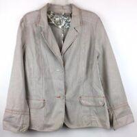 Chico's 3 XL Woman's Blazer Seersucker Beige White Cotton Stretch Jacket