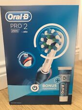 ORAL B PRO 2 2500 Rechargeable Toothbrush cross action Braun FREE TOOTHPASTE