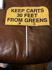 VINTAGE Metal SIGN KEEP GOLF CARTS FROM GREEN 1960's UNIQUE USGA