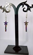 FAIRY TINKERBELL WAND RAINBOW HEMATITE EARRINGS