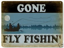 FLY FISHING METAL sign LURES tackle hooks VINTAGE style MANCAVE wall decor 385