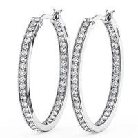 1.20CT Round Brilliant Cut Diamond Hoop Earring in Metal 18K White Gold