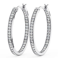 1.20CT Round Brilliant Cut Diamond Hoop Earring in Metal 18K White Gold