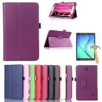 For Samsung Galaxy Tab 3 4 Tablet Glass Screen +Flip PU Leather Case Stand Cover