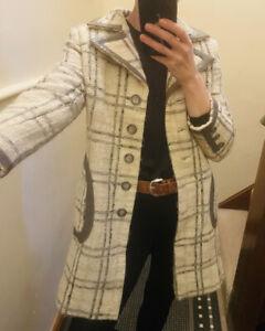 Vintage 1960 Wool Leather Blend Swing Leather Coat Mod Twiggy 10