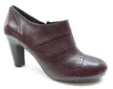 Biviel Burgundy Red Leather High Heel Side Zipper Ankle Boots Booties 7M 7 EU38