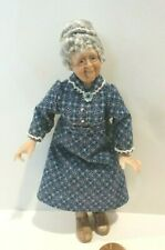 DOLLHOUSE MINIATURE FABULOUS OLD WOMAN DOLL         SIGNED CS