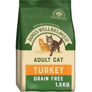 1.5kg James Wellbeloved Grain Free Adult Dry Cat Food Biscuits Turkey