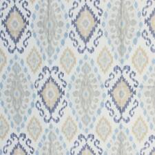 Linen Viscose Rangoda Fabric Ikat Pattern Blue Beige Upholstery Drapery IL7