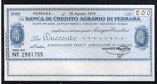 BANCA CREDITO AGRARIO FERRARA 20/8/1976 AS.PROV.AGRICOLTORI/PAPER MONEY FDS/UNC