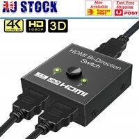 2 in 1 In Out UHD 4K Bi Direction HDMI 2.0 Switch Switcher Splitter Hub HDCP 3D
