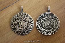 PN868 Ethnic Tibetan Brass Buddhist 8 Auspicious Signs 43mm Man Amulet Pendant