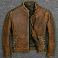 Men's Motorcycle Biker Vintage Cafe Racer Distressed Brown Real Leather Jacket