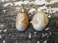 2 ancien petits camées coquillages roses XIXe ou avant