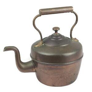 """Antique Copper Kettle Teapot Swan Neck -1 Quart - 8.5"""" Tall - Vintage Kitchen"""