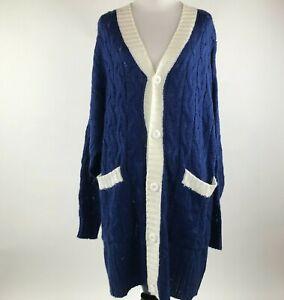 LuLaRoe Lucille Women Blue Knit Buttoned Sweater Cardigan sz M