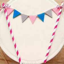 HAPPY BIRTHDAY CAKE TOPPER MINI FLAGS BANNER DECORATIONS PAPER STRAWS BUNTING