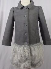JANIE AND JACK GREY girls dress coat size 4 NWOT FAUX FUR BOTTOM GORGEOUS!