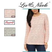CLEARANCE! Leo & Nicole Ladies' Pointelle Sweater VARIETY Size & Color!