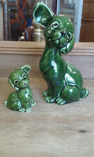 Vintage dog money box and small pooch. Highly glazed.