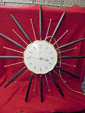 Very Nice Lux 1960's Space Age Wall Clock-Wood & Brass-Working