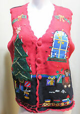 NUTCRACKER UGLY CHRISTMAS SWEATER VEST/ MAINLY BLACK & RED  W/ TREE & PRESENTS
