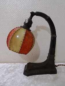 Art Decó Diseño Lámpara de Mesilla Noche Luz -Handgefertigt-Vintage-Defectuoso