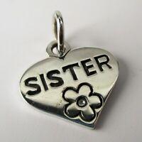 Sterling Silver SISTER Charm for Bracelet HEART Necklace Pendant GIFT Big Sister