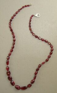 """Natural Pyrope Garnet Beads & Sterling Silver Ladies 18"""" Necklace, 25.4 grams"""