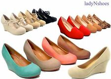 Women's Simple Stylish Round Toe Low Platform Wedge Heel Shoes NEW Size 5 - 10