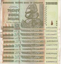 Zimbabwe 20 Billion Dollar Note CIRCULATED 10 Notes AA/AB 2008