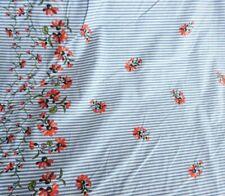 "Fabric pin stripe Cotton floral border print novelty 50s Sun dress 60"" Bty"