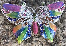 Brooch Butterfly Pin Jewelry Crystal Rhinestone Multi Color Women Vintage Vtg