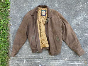 Vintage Members Only Brown Suede Leather Bomber Insulated jacket mens L