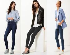 M&S Ladies Mid Rise Stretch Slim fit Blue Dark Indigo Black Denim Jeans 8-20