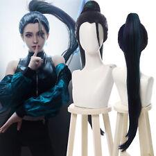 LOL KDA BADDEST Kaisa Cosplay Wig Dark Blue Long Ponytail Party Hair