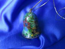 Cloisonne Mini Bell Pendant/Ornament Floral Design, Gold Tone Cord, Exclnt Cndtn