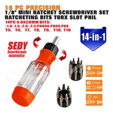 15 Piece Ratchet Screwdriver Set Screw Driver Bits Torx Slotted Flat Phillips