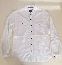 Converse White Long Sleeve Button Up with Two Pockets and Roll-Up Sleeves Size S