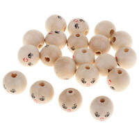 20pcs Smile Face Wooden Bead Round Loose Spacer Ball Jewelry Craft DIY