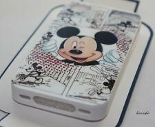 iPhone 4 4G 4S - GUMMY SILICONE RUBBER SKIN CASE WHITE Disney Mickey Mouse Comic