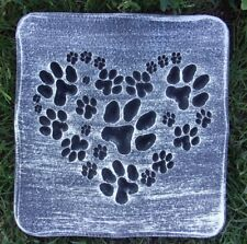 """Heart Paw Prints mold for plaster concrete casting 12' x 11"""" x 1.25"""" thick"""