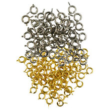 100x Round Spring Ring Clasps Jewelry Making Findings for Crafts Silver Gold